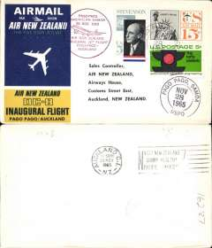 (Samoa) Air New Zealand, F/F DC8, Pago Pago to Auckland, b/s, souvenir cover.