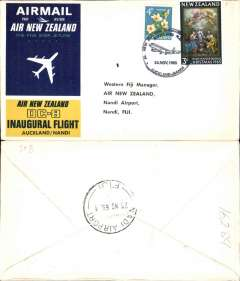(New Zealand) Air New Zealand, F/F DC8, Auckland to Nadi, b/s, souvenir cover.