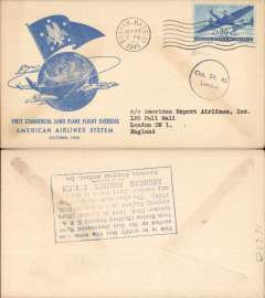 (United States) F/F FAM 24, Boston to London, verso blue rectangular hs certifying service rendered, arrival date and name of plane, blue specially printed company cover, American Overseas Airlines,