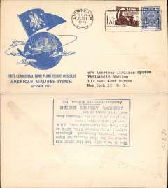 (Ireland) F/F FAM 24, Shannon-New York, verso blue rectangular hs certifying service rendered, arrival date and name of plane, blue specially printed company cover, American Overseas Airlines,