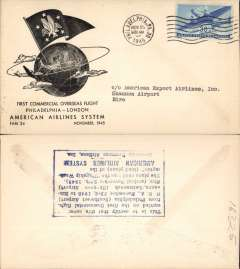 (United States) F/F FAM 24, Philadelphia-Shannon, verso blue rectangular hs certifying service rendered, arrival date and name of plane, blue specially printed company cover, American Overseas Airlines,