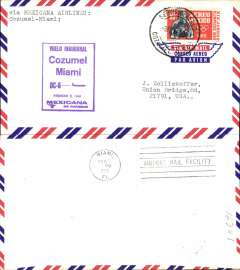 (Mexico) Mexicana F/F Cozumel-Miami, bs 7/2, large purple flight cachet, air cover.