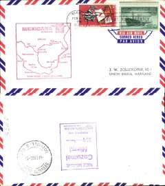 (United States) Mexicana F/F Miami-Cozumel, bs 4/2, large red flight cachet, air cover.