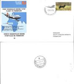 (South Africa) SAA B747SP,  F/F Johannesburg-Frankfurt, official souvenir cover, recent but uncommon..