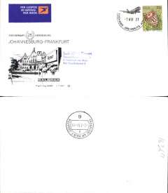 (South Africa) SAA B747SP,  F/F Johannesburg-Frankfurt, official souvenir cover, b/s, recent but uncommon.