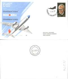 (South Africa) SAA Airbus,  F/F Johannesburg-Durban, official souvenir cover, b/s, recent but uncommon.