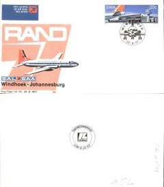 (South Africa) SAA HS748,  F/F Windhoek-Johannesburg, official souvenir cover, b/s, recent but uncommon.