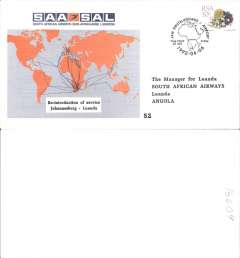 (South Africa) SAA Re-introduction of Johannesburg-Luanda, official souvenir cover, no arrival dsb/s.