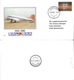 (South Africa) SAA,  50th Aniversary F/F Johannesburg-Blomfontain, official souvenir cover, b/s.
