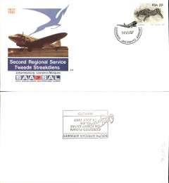 (South Africa) SAA,  50th Aniversary second regional service, Johannesburg-Maputo, official souvenir cover, b/s.
