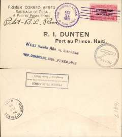 "(Cuba) West Indian Aerial Express, F/F Santiago de Cuba to Port au Prince franked 5c o/p Lindbergh Febrero 1928, canc official violet cds, blue straight line 'Western Indian Aerial Express/Rep. Dominicaine ..Cuba. Puerto Rico..Haiti', and monoplane in circle cachets, b/s 24/2, black boxed rectangular cachet inscribed ""Primer Viaje Aereo/Cuba. Haiti-Santo Domingo-Pto Rico/Aeroplano Santa Maria"" verso, printed special cover signed Basil Rowe pilot."