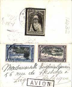 (Belgian Congo) Imperial Airways involvement, Stanleyville to Liege, Belgium, ms note inside arrived 10/1/35, small cover 10x6cm, franked 3F air on front and 1F50 King Albert mourning stamp verso, black boxed 'Avion' hs. Carried 550km by road to Aba and further 260km by road to Juba, then Imperial AW AN200 service to Brindisi, finally rail to Liege.