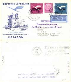 (Germany) Lufthansa post war resumption of scheduled flights, scarce CV340 F/F Hamburg-Lisbon, special depart cachet, cachet, arrival ds, souvenir cover. Catalogued 65dm, Haberer 1996.