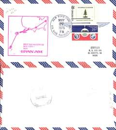 (Fiji) Pan Am, F/F into Nadi from New York, large magenta cachet, bs, air cover.