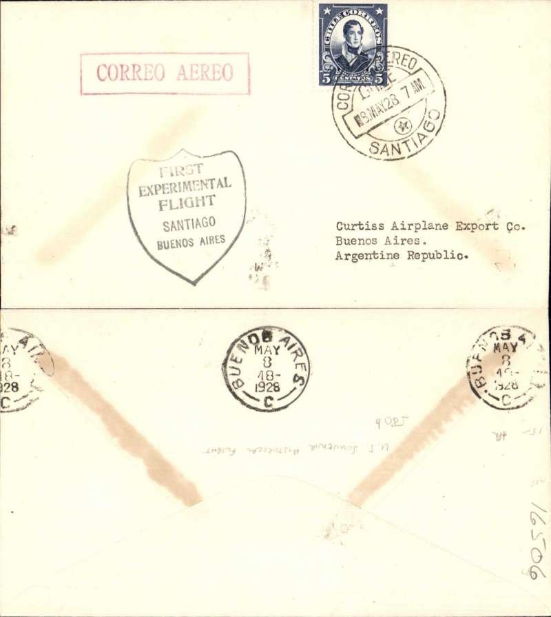 """(Chile) Curtis Wright Feasibility Flight, 3rd South American Sales Flight (Lt James Doolittle), Santiago to Buenos Aires, b/s 8/5, black """"Shield"""" flight cachet, red boxed """"Correo Aereo"""" hs, addressed to Curtis Airplane Co, US Souvenir Historical Flight."""