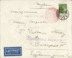 (Denmark) DDL/ABA early flown cover, Denmark to Hungary, bs Budapest 13/6, plain cover franked 40o, canc Rungsted (Copenhagen) cds, Berlin C/L2 13/6 transit cds verso, blue/white etiquette, red circular Germany 'Mit Luftpost Befordert/Zweigluftpostampt/Berlin Zentralflughafen transit and violet st. line Hungary 'Legipostaval Erkezett hs's on front. Nice routing, uncommon orgin/destination.