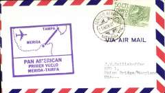 (Mexico) F/F  Merida  to Tampa, red cachet, b/s, airmail cover, Pan Am