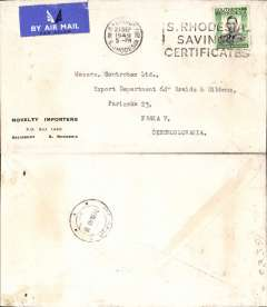 (Southern Rhodesia) Airmail etiquette cover flown Southern Rhodesia to Czechoslovakia, franked KGV 1/-, cacnc Salisbury cds, bs Prague 29/9 arrival cds. Uncommon destination.