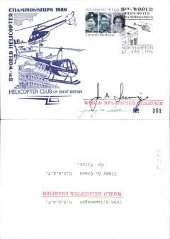 (Helicopter) Helicopter Club of Great Britain souvenir cover commemorating the 5th World Helicopter Championships held at Northampton, signed by John A. Isemonger, World Helicopter Champion and Jimmy A. Green, Co Pilot. 400 covers issued, 100 signed.