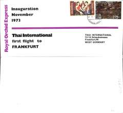 (Thailand) Thai Airways International, Royal Orchid Service, F/F Bangkok-Frankfurt, no arrival ds, official dated souvenir cover.
