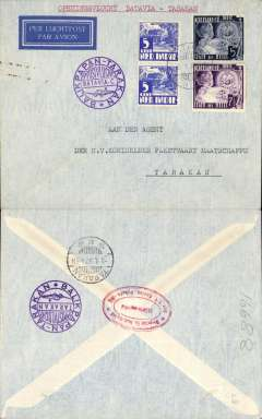 (Netherlands East Indies) KNILM F/F Batavia to Tarakan, bs 9/1, imprint etiquette airmail cover, franked 22 1/2c, violet cicular flight cachet.