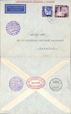 (Netherlands East Indies) KNILM F/F Soerabaja to Tarakan to Balkipan, bs 9/1, imprint etiquette airmail cover, franked 22 1/2c, violet cicular flight cachet.