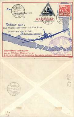 (Netherlands East Indies) KNILM F/F regular service bs 27/9, Soerbaja to Makassar, attractive printed souvenir envelope,franked 10c and 30c triangular blue/white special air stamp, large oval violet flight cachet.
