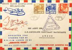 "(Netherlands East Indies) KNILM, Batavia to Amboina, bs 22/8, carried on the F/F of the Batavia-Mankowari service, franked 17 1/2c, purple triangular flight cachet, red/white blue ""Groote Oost"" souvenir cover. Scarce."