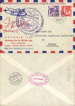 "(Netherlands East Indies) KNILM, Batavia to Ternate, bs 1/10, carried on the F/F of the Java-Makasser-Minhassa-Amboina service, franked 17 1/2c, large purple circular flight cachet, red/white blue ""Octber 1940"" souvenir cover. Scarce."