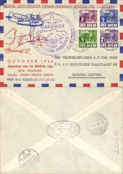"(Netherlands East Indies) KNILM, Gorontalo-Makasser (7/10) -Batavia (8/10), carried on the return flight of the first Java-Makasser-Minhassa-Amboina service, franked 17 1/2c, large purple circular flight cachet, red/white blue ""Octber 1940"" souvenir cover. Scarce."
