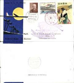 (Japan) KLM F/F Tokyo to Biak, New Giunea, bs 8/11, blue/black/yellow/white souvenir cover franked 35y canc special red F/F postmark, also large violet KLM flight cachet.