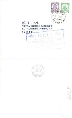 (Libya) KLM F/F Tripoli to Tunis, bs 17/4, plain cover, franked 15mls, large blue boxed six line flight cachet.