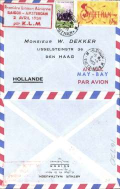 (Thailand) KLM, F/F Bangkok to Saigon, bs 2/4, airmail cover franked 1Bt 30, black printed flight cachet on front.