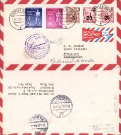 (Germany) Germany acceptance for first KLM flight, Amsterdam to Kaboul, Afghanistan, b/s 11/5, airmail cover franked 75rpf canc Berlin cds, violet flight cachet, orange/pale blue/white etiquette, KLM.