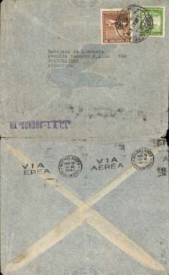 (Chile) Chile to Argentina, Syndicato Condor double rate uncensored WWII grey/pale blue airmail cover with imprint outline of plane in flight, Santiago to Buenos Aires, bs Via Aerea/Buenos Aires/Abr 9/1941 machine cancel, franked 6P 10c (double rate for Syndicato Condor), canc Santiago/Correo Aereo, 8 Apr 41 cds, blue 'Via Condor-LATI'  directional hs'. Airmail from Chile to Buenos Aires could be carried by Panagra or by the more costly Syndicato Condor. Chilean mail destined for carriage to Europe by LATI was flown to Rio via Buenos Aires by Syndicato Condor. An nice collateral LATI item.