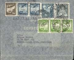 (Chile) Chile to Argentina, Panagra double rate uncensored WWII grey airmail cover, Santiago to Buenos Aires, bs Via Aerea/Buenos Aires/Feb 18/ 1941 machine cancel, franked 4P20c (the double rate for Panagra), canc Santiago/Correo Aereo, 8 Apr 41 cds. Airmail from Chile to Buenos Aires could be carried by Panagra or by the more costly Syndicato Condor. Chilean mail destined for carriage to Europe by LATI was flown to Rio via Buenos Aires by Syndicato Condor. An nice collateral LATI item.