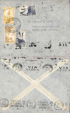 (Bolivia) Bolivia to Argentina, Panagra uncensored WWII printed grey airmail cover, La Paz to Buenos Aires, bs Via Aerea/Buenos Aires/Ago 15/1941 machine cancel, franked 3B 60c, canc Servicio Aereo/Bolivia La Paz/14 Ago 41 cds. This item shows the correct airmail rate for carriage from Bolivia-Argentina by Panagra.
