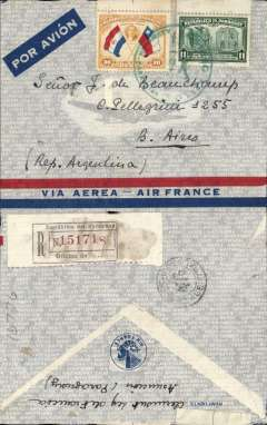 (Paraguay) Paraguay to Argentina, Pan Am/Panagra uncensored WWII red/blue/grey company registered (label) airmail cover, Asuncion to Buenos Aires, black circular '476/Certificados/Central' registered mail reception of Buenos Aires Main Post Office verso, franked 41P, canc Correo Aereo/Asuncion Paraguay/25-1-40' cds. Both LATI and Air France carried mail from Paraguay to Europe until July 1940, via Pan Am?Panagra to Buenos Aires. A useful LATI collateral item.