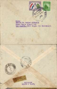 (Paraguay) Paraguay to Brazil, Panair Do Brasil uncensored WWII plain cover, Asuncion to Porte Alegre, bs 15/10, franked 7P, canc Correo Aereo/Asuncion Paraguay/8-10-41' cds. LATI and Air France carried mail from Paraguay to Europe until July 1940, and LATI until December 1940, via Pan Am/ Panair Do Brasil to Rio de Janero. A useful LATI collateral item.