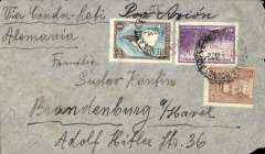 (Argentina) Argentina to Germany, flown by LATI, single rate censored WWII airmail cover, Buenos Aires to Brandenburg, franked 1P 45c, canc Buenos Aires 20 Mar 40 cds, ms 'Via Condor LATI'/Por Avion', sealed German black/pale brown OKW censor seal, no code. Correctly rated for LATI to Europe (0.20P basic + 1.25P air fee, see Beith p41).  No Bermuda censor confirms not flown by PAA. Carried by Syndicato Condor to Rio, then by LATI all the way to Rome thus avoiding the British censorship on the Pan Am North Atlantic service.  Flown by pilots Paradisi/Ferioli.