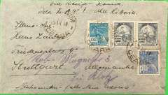 "(Brazil) LATI, Brazil to Germany, censored WWII plain grey airmail cover, Ceara (300 miles inland from Recife) to Stuttgart, no arrival ds, franked 5400R, canc Ceara 25/3/40, via Rio Norte/Brasil 27 Mar 40 transit cds verso, ms ""Via Recife-Roma/Vola LATI - Ala Littoria"", sealed black/white German OKW censor tape, no code. Correctly rated for Brazil to Europe by LATI (5000R air fee + 400R basic, see Beith p41). Internal airline to Recife, then carried all the way from Rio de Janeiro to Rome by LATI, thus avoiding the British censorship on the Pan Am North Atlantic service. Flown by pilots Paradisi/Ferioli."