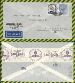 (Brazil) Brazil to Germany, flown by LATI, censored WWII grey and yellow/green edged airmail cover, Rio to Flensburg, franked 5400R, canc Rio de Janeiro 3/10/40 cds, sealed black/white German OKW censor tape, code e Frankfurt. Correctly rated for LATI to Europe (5000R air fee + 400R basic, see Beith p41). Carried all the way from Rio de Janeiro to Rome by LATI, thus avoiding the British censorship on the Pan Am North Atlantic service. Flown by pilot Pavia.