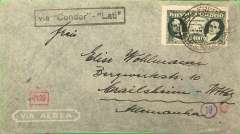 "(Brazil) Brazil to Germany, flown by LATI, censored airmail cover, Sao Paulo to Crailsheim, franked 5400R Presidents, canc Correos Aereo/Sao Paulo,15/8/41 cds, uncommon black boxed "" 'Via 'Condor' - 'LATI' "" directional hs (not listed Beith, #87 McQueen), sealed black/white German OKW censor tape, code d Munich, also boxed 4120 additional German censor mark. Correctly rated for LATI to Europe (5000R air fee + 400R basic, see Beith p41). Carried all the way from Rio de Janeiro to Rome by LATI, thus avoiding the British censorship on the Pan Am North Atlantic service. Flown by pilot Carelli."