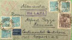 "(Brazil) Brazil to Germany, flown by LATI, censored WWII airmail cover, Rio to Hanover, franked 5400R, canc Correos Aereo/Rio, 23/1/41 cds, uncommon violet boxed double frame "" 'Via LATI"" directional hs (not listed Beith, #85 McQueen), ms 'via LATI', sealed purple/white German OKW censor tape, code e Frankfurt. Correctly rated for LATI to Europe (5000R air fee + 400R basic, see Beith p41). Carried all the way from Rio de Janeiro to Rome by LATI, thus avoiding the British censorship on the Pan Am North Atlantic service. Flown by pilot Carelli."