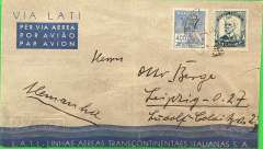 "(Brazil) Brazil to Germany, flown by LATI, censored WWII pale grey/light blue/dark blue LATI publicity envelope, 147x 86mm, central white imprint Gulls Wing and inscribed ""Via LATI"" and ""LATI Linhas Aereas Transcontinentaes Italianas S.A."", Rio to Leipzig, franked 5400R, canc Correos Aereo 4/8/year unclear, sealed black/white German OKW censor tape, no code. Correctly rated for Brazil to Europe by LATI (5000R air fee + 400R basic, see Beith p41). Carried all the way from Rio de Janeiro to Rome by LATI, thus avoiding the British censorship on the Pan Am North Atlantic service. Ironed vertical crease and 2cm closed tear half way down right hand edge, otherwise good. Please note the year of postage is assumed to be 1940 - it is not clear on the opstmark."