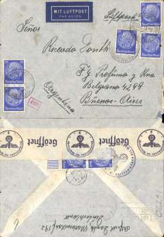 (Germany) LATI, Germany to Argentina, censored WWII airmail cover, Machendorf to Buenos Aires, bs ?3/4/41, franked 175 rpf, canc Machendorf Sudetenland/ 27/3/41 cds, also '4/22' in circle mail reception of Buenos Aires Main Post Office, sealed black/white German OKW censor tape, code d Munich, also framed number 4109 additional German censor marks. Correctly rated 175rpf for Germany to Brazil (150rpf air fee + 25rpf basic, see Beith p38). Flown Rome to Brazil by LATI, thus avoiding the British censorship on the Pan Am North Atlantic service. Flown by pilot Pavia.