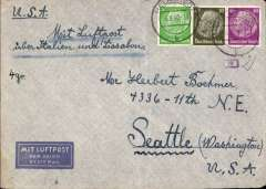 "(Germany) Germany to USA,flown by Pan Am, censored WWII airmail etiquette cover, Helmstadt to Seattle, franked 75rpf, canc Helmstadt 6/8/40 cds, ms ""Mit Luftpost/uber Italien und Lissabon"", sealed black/white German OKW censor tape, code e Frankfurt, also small framed numbers, additional German censor marks. Correctly rated for Germany to USA by Pan Am via Lisbon, 40rpf/5g air fee + 25rpf/20g surface + 10rpf US internal air fee (see Beith p39). Between March-September 1940 Pan Am westbound flights from Europe-USA bypassed the British censor in Bermuda by flying from Lisbon-Horta, where they refuelled, then direct to New York.  A nice example of the much lower Pan Am rate, and of a Bermuda censor 'bypass'."