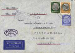 "(Germany) Germany to Brazil, uncommon dual censored LATI WWII airmail etiquette cover, Bad Schandan to Porto Alegre, bs 20/3, franked 175rpf, canc Bad Schandan/4/3/40 cds, typed ""Via Italia/Via Rome/Brasil"", sealed black/white German OKW censor tape, no code, also black boxed ""4/Livre/D.R.Porto Alegre"" federal Brazil interwar censor mark on front. Flown DLH/Ala Littoria to Rome, Rome to Rio de Janeiro by LATI, then Syndicato Condor to Porto Alegre, thus avoiding the British censorship on the Pan Am North Atlantic service. This cover is actually 25rpf over franked, the LATI rate was 150rpf to Brazil and 175rpf to other South American countries, see Beith p39. Dates suggest flown from Europe on 9/3/40 by pilot Satti in Savoia Marchetti 83 Reg I-ASSO."