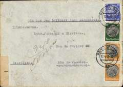 "(Germany) Germany to Brazil, flown by LATI, double rate censored WWII airmail cover, Berlin to Rio de Janero de Janero, bs 22/4/40, franked 275rpf, canc Berlin12/11/40 cds, typed ""Via Rom per Luftpost nach Sudamerika"",  sealed black/white German OKW censor tape, no code. Correctly franked for double rate Germany to Brazil by LATI, 2x125 rpf/5g air fee + 25rpf/20g surface (see Beith p39). Flown DLH/Ala Littoria to Rome, Rome to Rio de Janero by LATI, thus avoiding the British censorship on the Pan Am North Atlantic service. Dates suggest flown from Europe on 13/4/40 by pilot Baldini in Savoia Marchetti 83 Reg I-ARCA. Also a nice example of a 2x normal rate. Closed flap tear."