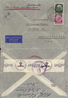 "(Germany) Germany to USA, flown by Pan Am, censored WWII airmail etiquette cover, Adelsheim to New York, franked 65rpf, canc Adelsheim/Waffer-Sonne-Wald 9/8/40 cds, typed ""Mit Flugpost nach Nordamerika"", ms ""4g"", sealed black/white German OKW censor tape, code e Frankfurt, also additional German censor mark, boxes with numbers verso. Correctly rated for 4g Germany to USA by Pan Am via Lisbon, 40rpf/5g air fee + 25rpf/20g surface (see Beith p39). Between March-September 1940 Pan Am westbound flights from Europe-USA bypassed the British censor in Bermuda by flying from Lisbon to Horta, where they refuelled, then direct to New York. A nice example of the much lower Pan Am rate, and of a Bermuda censor 'bypass'. Also a useful collateral LATI item."